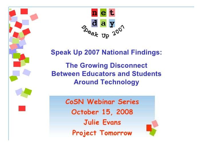 Speak Up 2007 National Findings