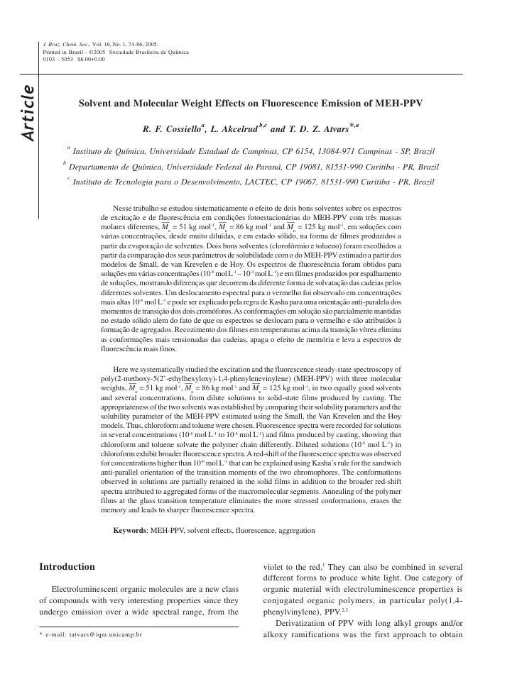 J. Braz. Chem. Soc., Vol. 16, No. 1, 74-86, 2005.            Printed in Brazil - ©2005 Sociedade Brasileira de Química    ...