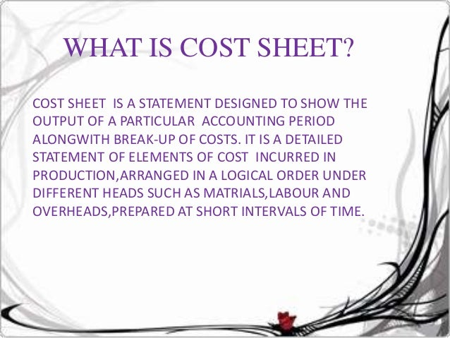 cost sheet performa