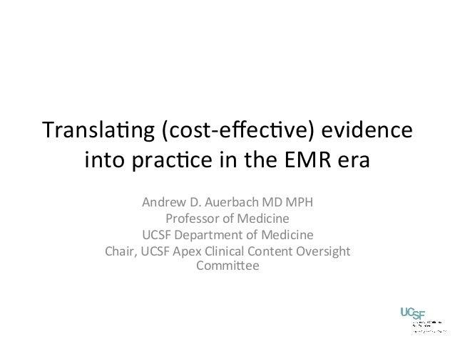 Cost effectiveness & evidence-based medicine