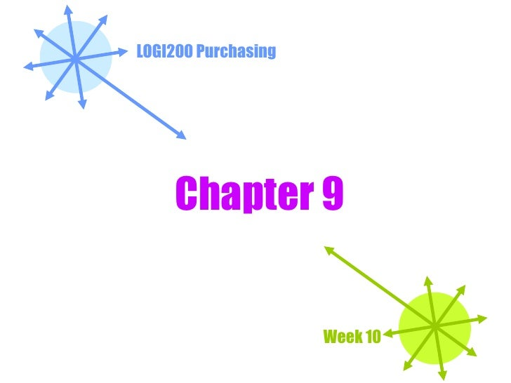 LOGI200 Purchasing Week 10 Chapter 9