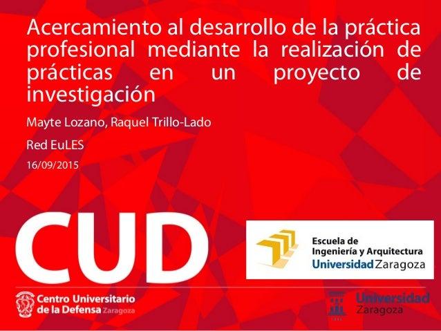 Acercamiento al desarrollo de la práctica profesional mediante la realización de prácticas en un proyecto de investigación...