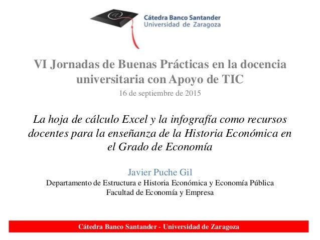 VI Jornadas de Buenas Prácticas en la docencia universitaria con Apoyo de TIC 16 de septiembre de 2015 La hoja de cálculo ...