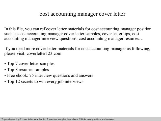 cost accounting manager cover letter