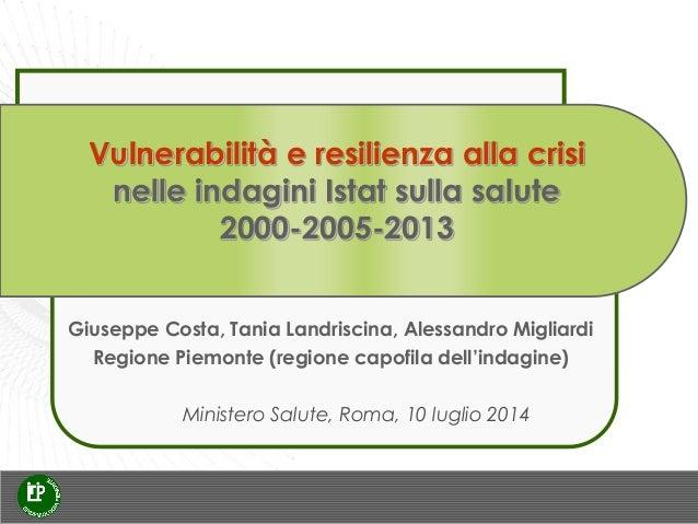 Vulnerabilità e resilienza alla crisi nelle indagini Istat sulla salute 2000-2005-2013 Ministero Salute, Roma, 10 luglio 2...