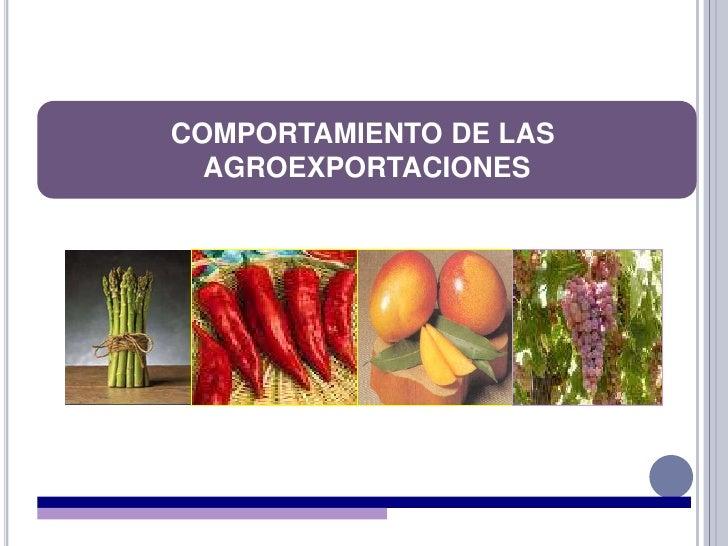 COMPORTAMIENTO DE LAS <br />AGROEXPORTACIONES<br />