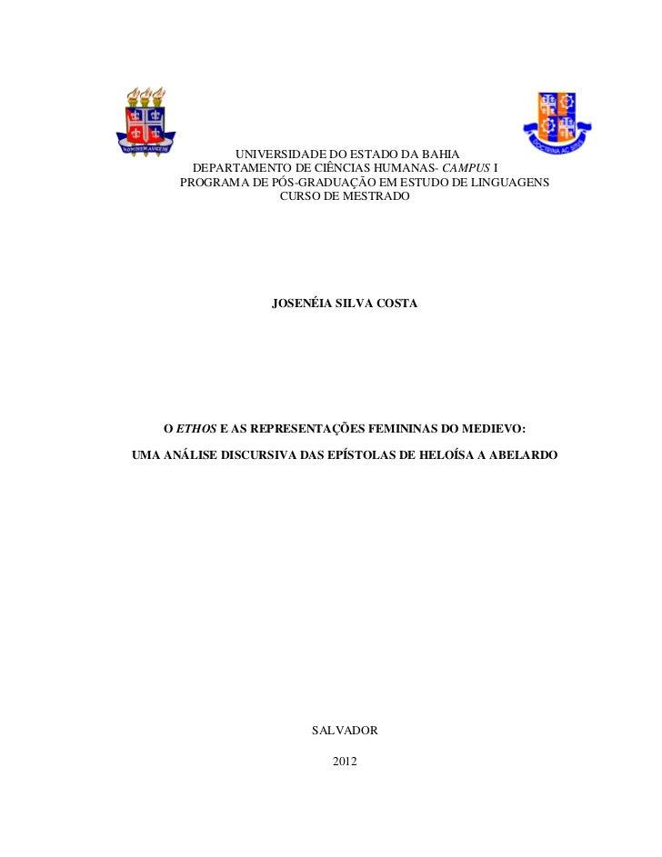 UNIVERSIDADE DO ESTADO DA BAHIA        DEPARTAMENTO DE CIÊNCIAS HUMANAS- CAMPUS I      PROGRAMA DE PÓS-GRADUAÇÃO EM ESTUDO...