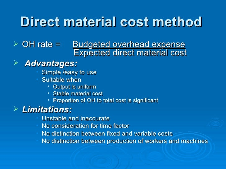 Total cost allocation method