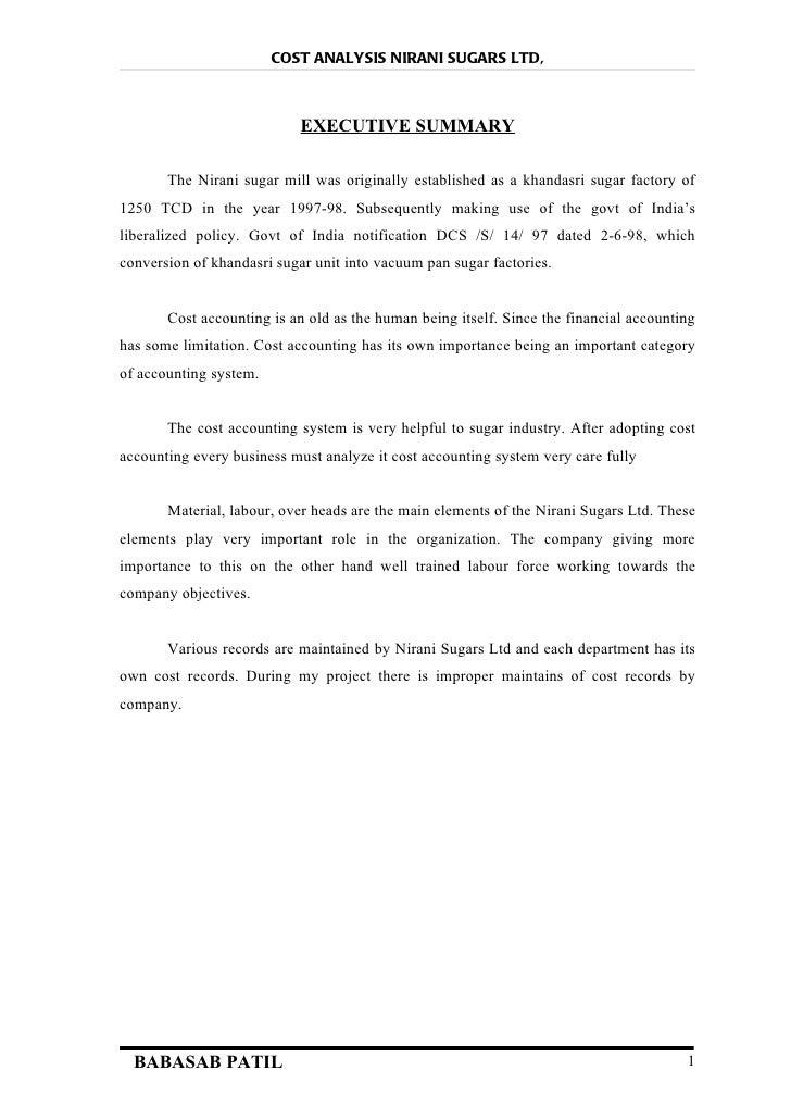 Cost analysis @ nirani sugars ltd project report