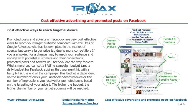 Cost effective advertising and promoted posts on facebook