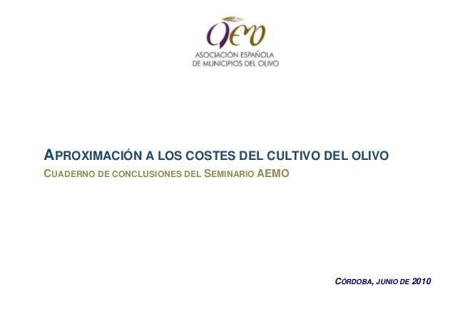 APROXIMACIÓN A LOS COSTES DEL CULTIVO DEL OLIVOCUADERNO DE CONCLUSIONES DEL SEMINARIO AEMO                                ...