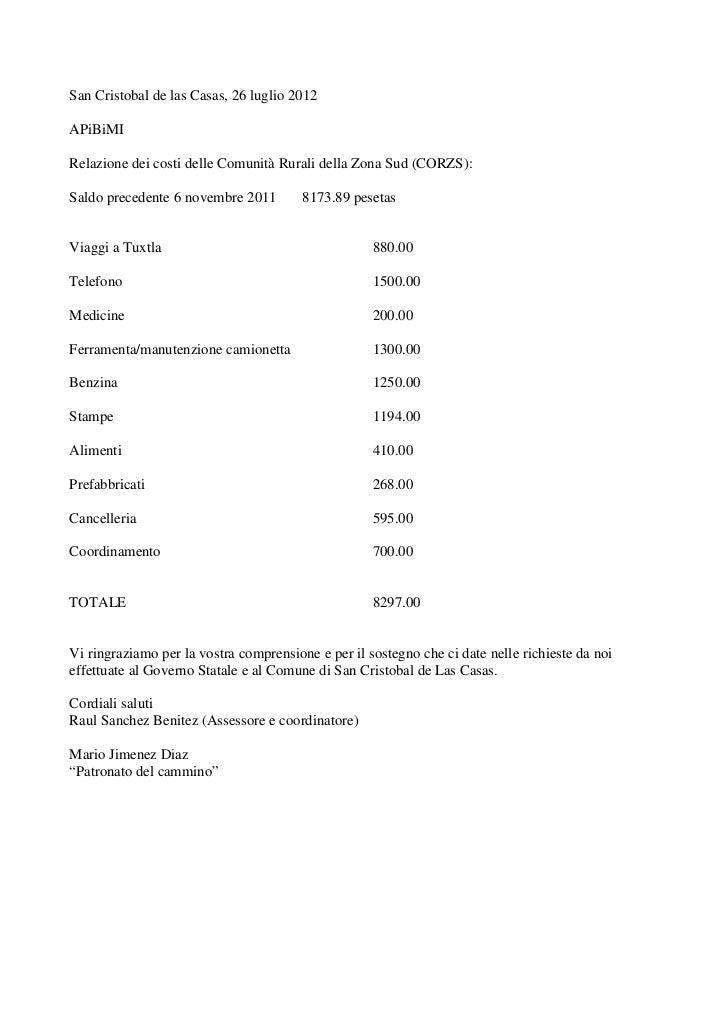 San Cristobal de las Casas, 26 luglio 2012APiBiMIRelazione dei costi delle Comunità Rurali della Zona Sud (CORZS):Saldo pr...