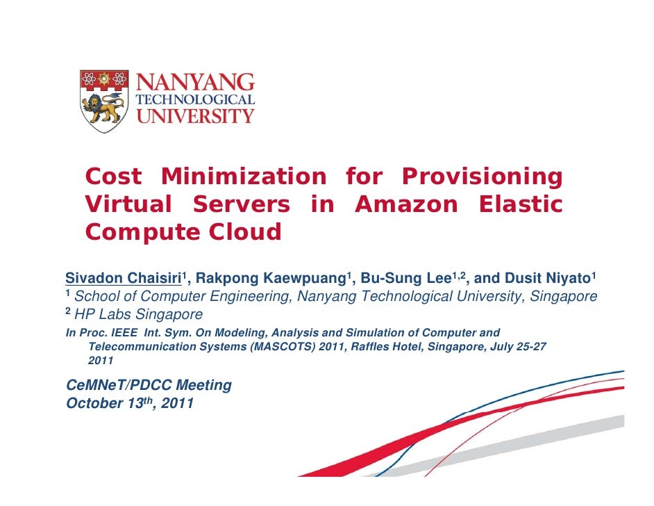 Cost Minimization for Provisioning Virtual Servers in Amazon EC2