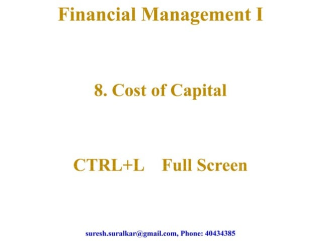 Cost of capital   1