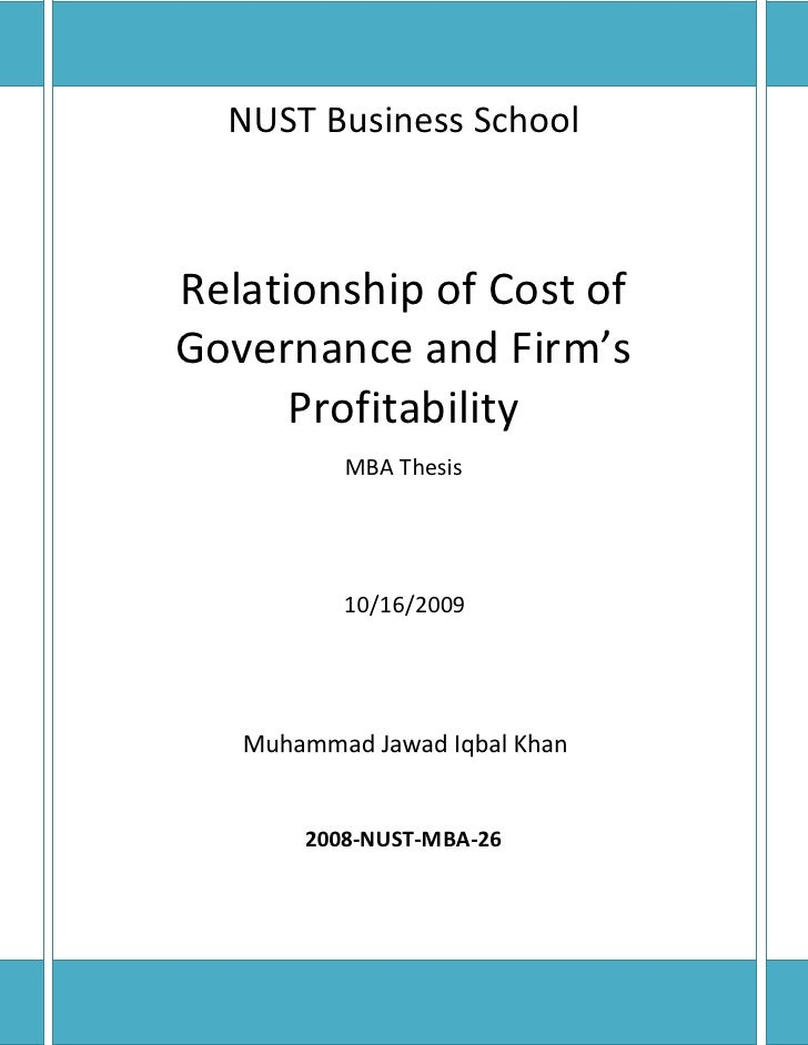 NUST Business School    Relationship of Cost of Governance and Firm's       Profitability           MBA Thesis            ...