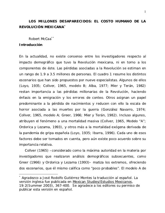 1      LOS MILLONES DESAPARECIDOS: EL COSTO HUMANO DE LAREVOLUCIÓN MEXICANA*      Robert McCaa**IntroducciónEn la actualid...