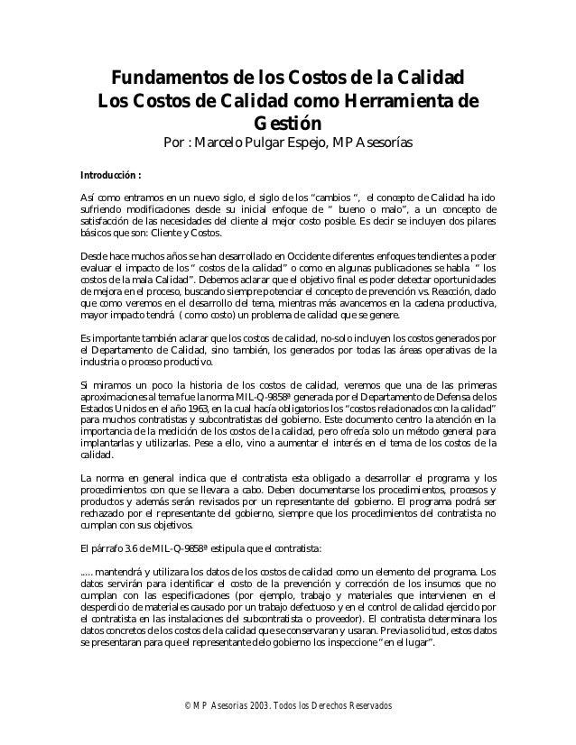 Fundamentos de los Costos de la Calidad    Los Costos de Calidad como Herramienta de                      Gestión         ...