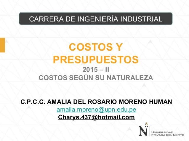 COSTOS Y PRESUPUESTOS 2015 – II COSTOS SEGÚN SU NATURALEZA CARRERA DE INGENIERÍA INDUSTRIAL C.P.C.C. AMALIA DEL ROSARIO MO...