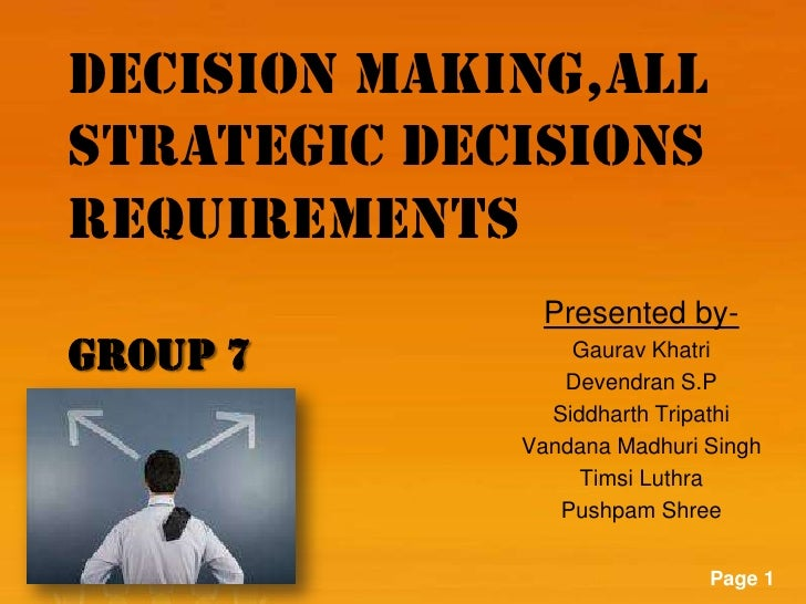DECISION MAKING,ALLSTRATEGIC DECISIONSREQUIREMENTS                                  Presented by-GROUP 7                  ...