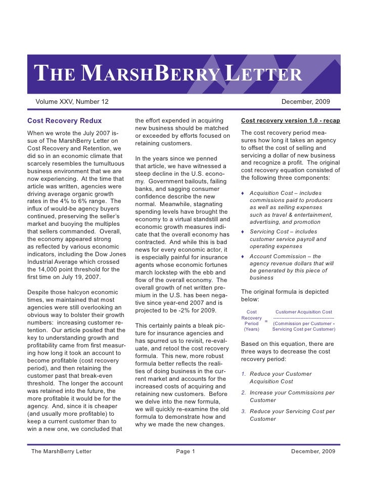 THE MARSHBERRY LETTER   Volume XXV, Number 12                                                                          Dec...
