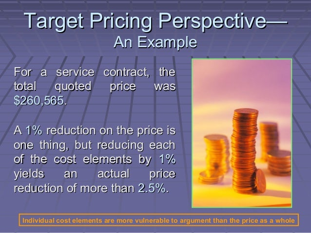 How to make business targets that help to price a service?