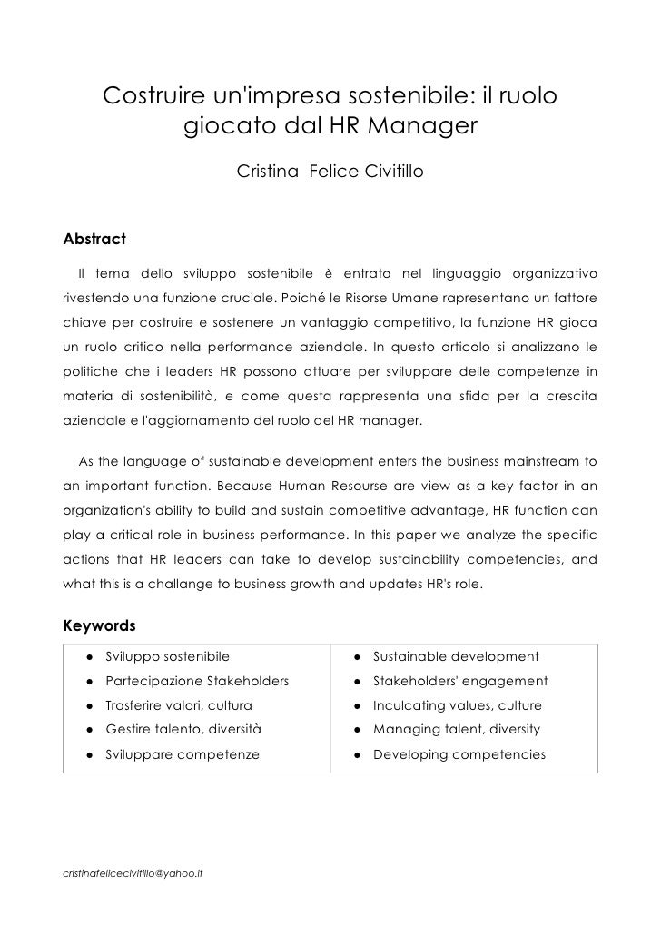 Costruire unimpresa sostenibile: il ruolo                giocato dal HR Manager                                   Cristina...
