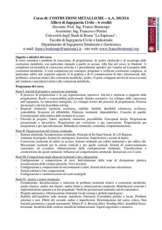 Costruzioni Metalliche A.A.2013/14 Bontempi