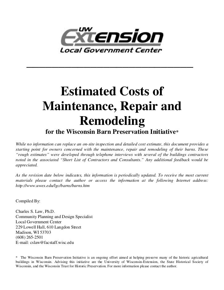 __________________________                   Estimated Costs of                 Maintenance, Repair and                   ...