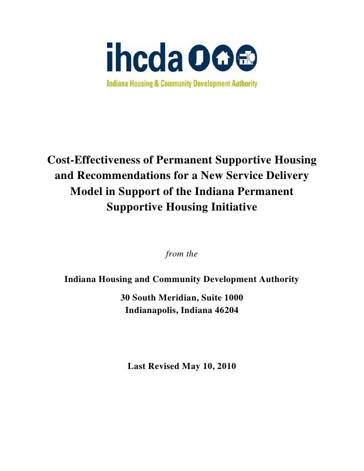 Cost-Effectiveness of Permanent Supportive Housing  and Recommendations for a New Service Delivery     Model in Support of...