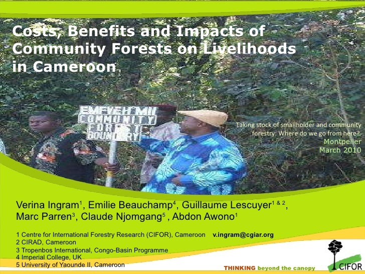 Costs, benefits and impacts of community forests on livelihoods in Cameroon
