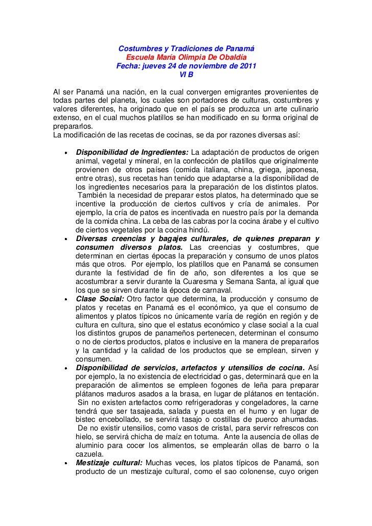 Costumbres y Tradiciones de Panamá                    Escuela María Olimpia De Obaldía                  Fecha: jueves 24 d...