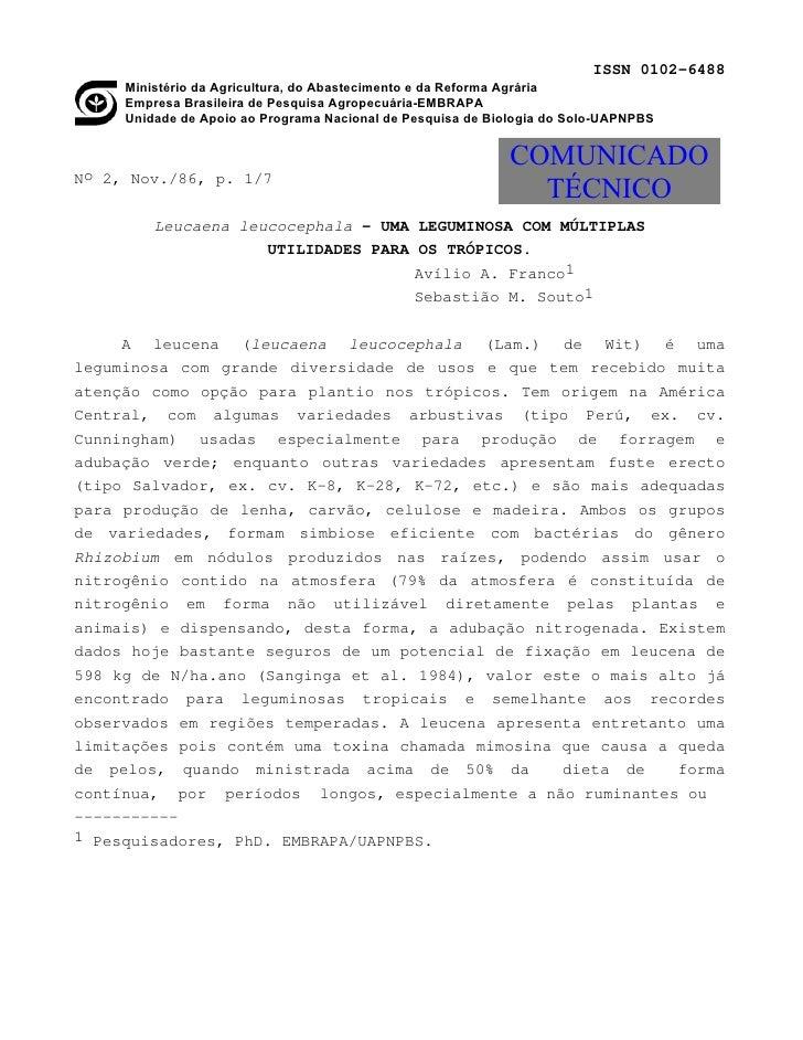 ISSN 0102-6488     Ministério da Agricultura, do Abastecimento e da Reforma Agrária     Empresa Brasileira de Pesquisa Agr...