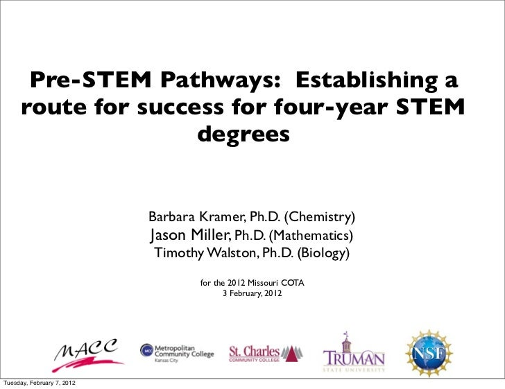 Pre-STEM Pathways: Establishing a      route for success for four-year STEM                     degrees                   ...