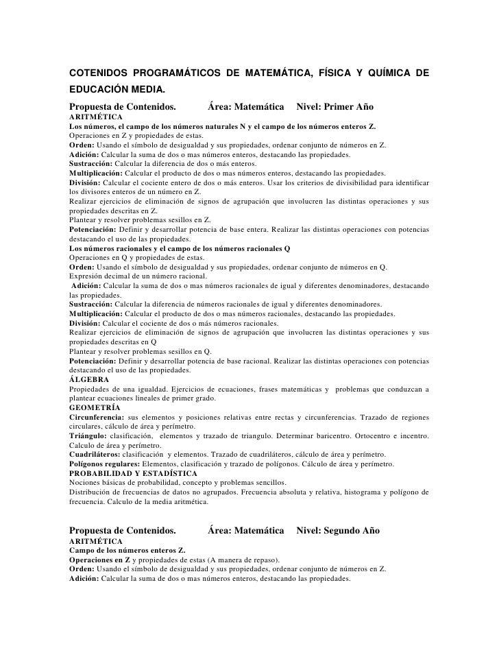 COTENIDOS PROGRAMÁTICOS DE MATEMÁTICA, FÍSICA Y QUÍMICA DE EDUCACIÓN MEDIA.  <br />Propuesta de Contenidos.             Ár...