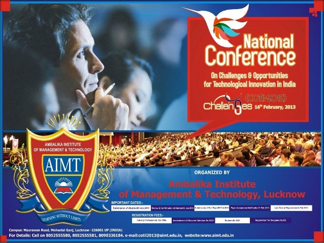 National Conference on Challenges and Opportunities for Technological Innovation in India (COTII-2013)