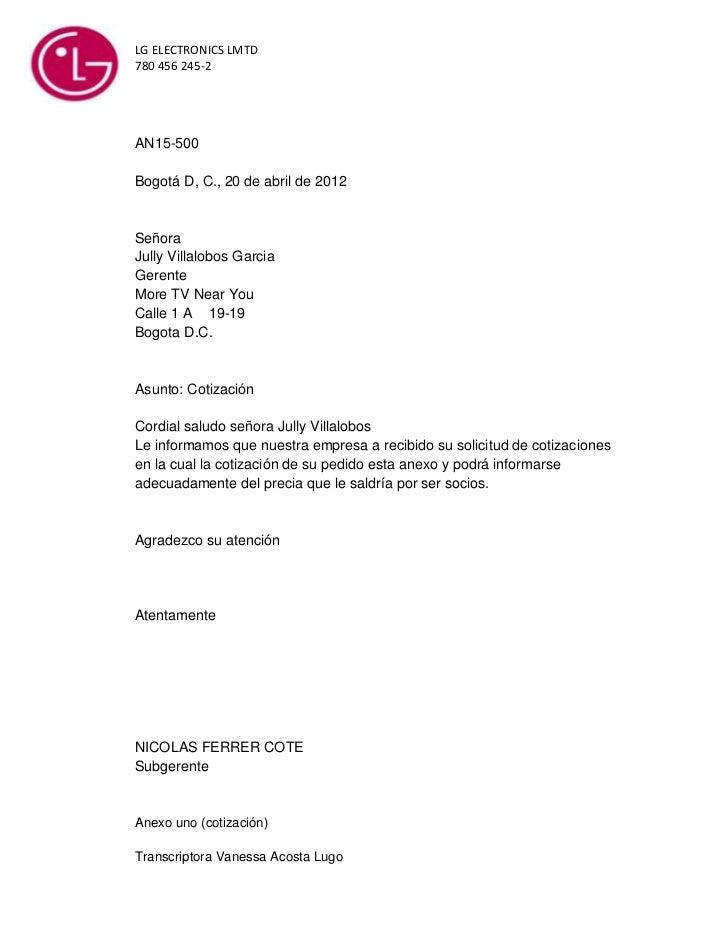 LG ELECTRONICS LMTD780 456 245-2AN15-500Bogotá D, C., 20 de abril de 2012SeñoraJully Villalobos GarciaGerenteMore TV Near ...