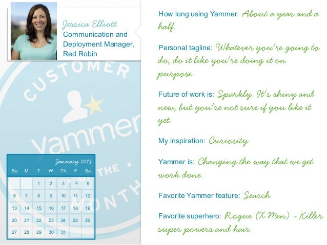 2013 Yammer Customer of the Month