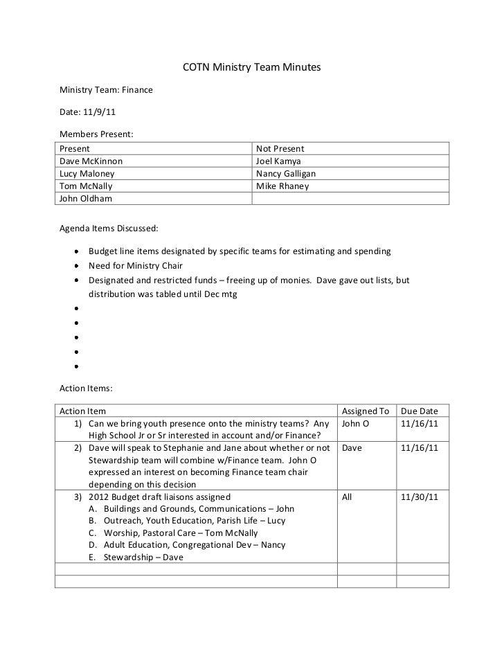 COTN Ministry Team MinutesMinistry Team: FinanceDate: 11/9/11Members Present:Present                                      ...