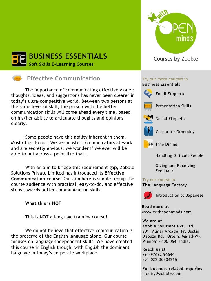 BUSINESS ESSENTIALS        Soft Skills E-Learning Courses       Effective Communication                               Try ...