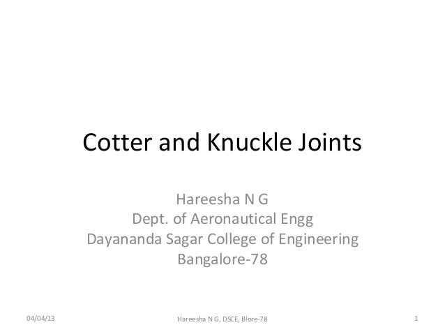 Cotter and knuckle joints