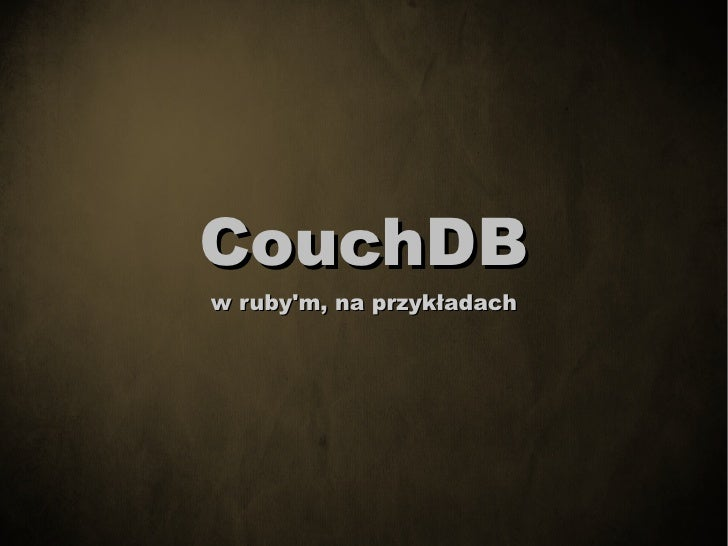 Couchdb w Ruby'm