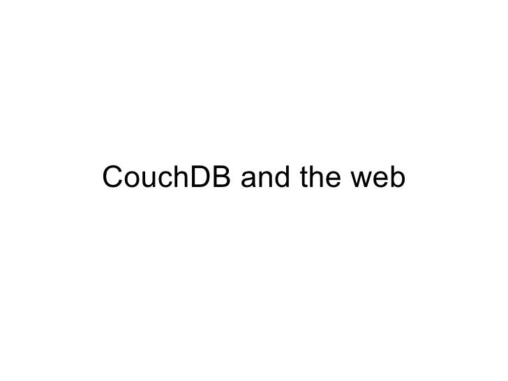 CouchDB and the web