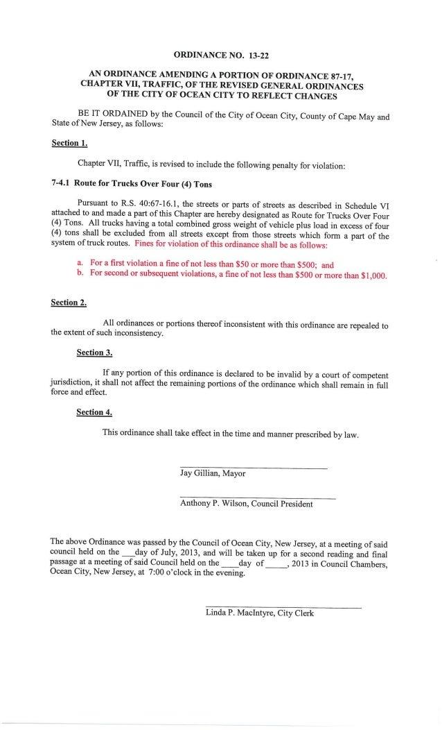 Ocean City Council agenda July 25, 2013