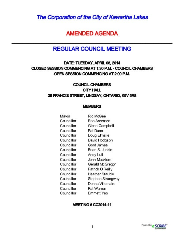 1 The Corporation of the City of Kawartha Lakes AMENDED AGENDA ___________________________________________________________...