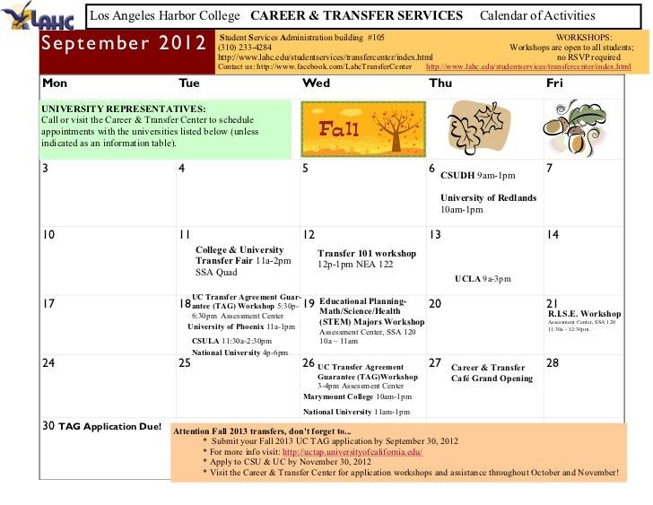 Fall 2012 Counseling Calendar of Events