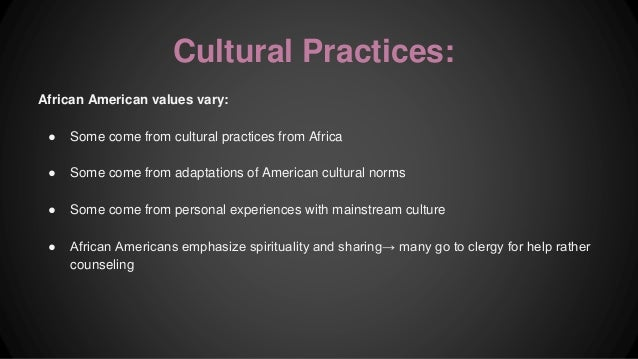 african american cultural beliefs essay In cultural anthropology, ethnography refers to the description of cultures derived from the traditional beliefs aspects of african american cultural.