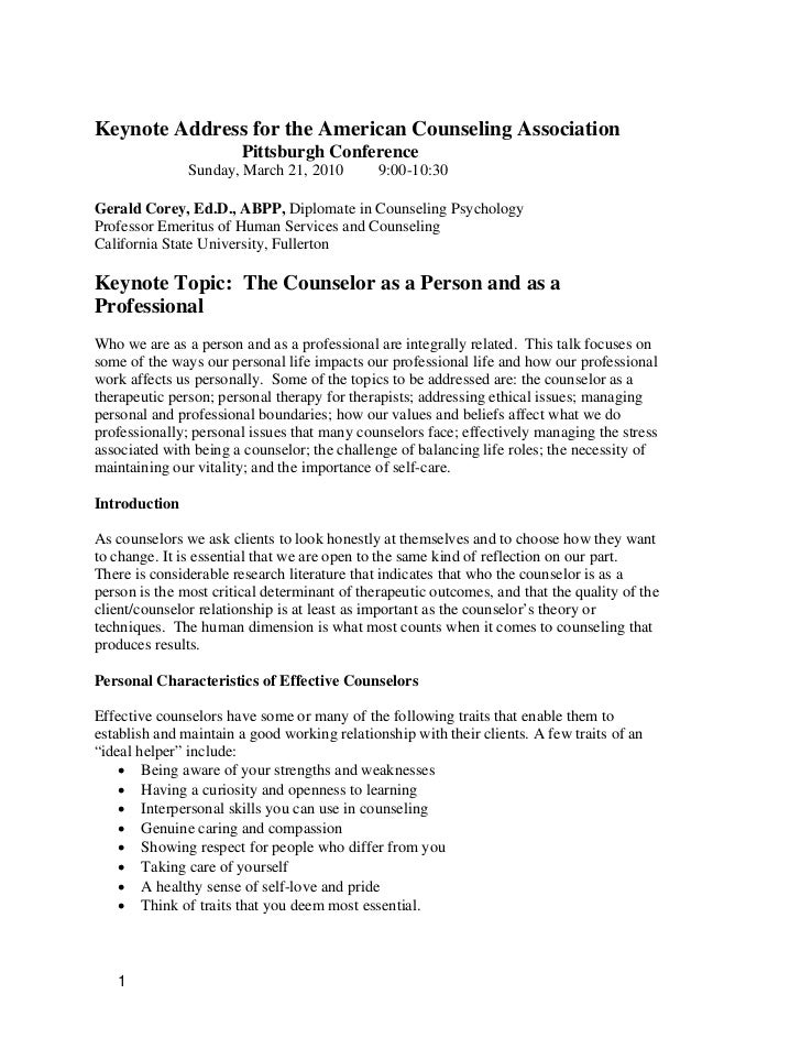 Keynote Address for the American Counseling Association                        Pittsburgh Conference               Sunday,...