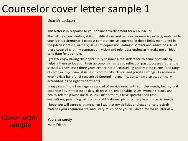 counselor cover letter sample 1 dear mr jackson this letter