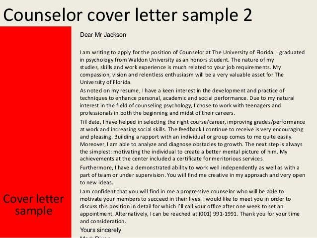 counselor cover letter sample 2 dear mr jackson cover letter