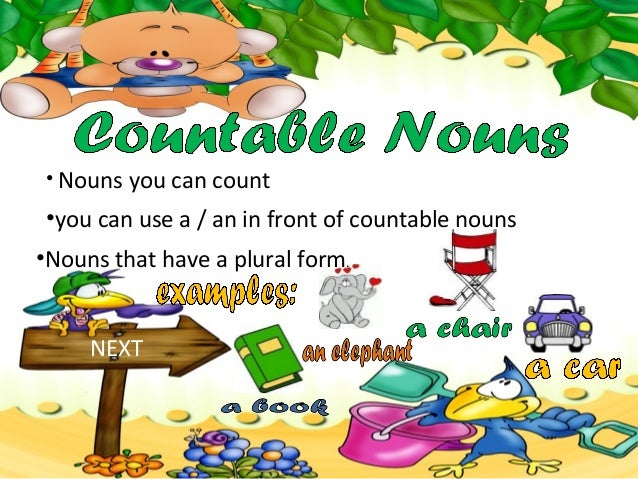 • Nouns you can countNEXT•you can use a / an in front of countable nouns•Nouns that have a plural form.